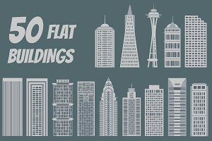 50 vector buildings in flat style