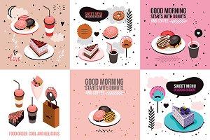 6 delicious desserts banner set