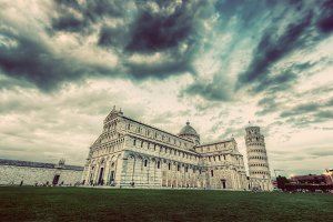 Pisa Cathedral with Leaning Tower.