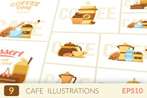 Cafe or coffee shop illustrations