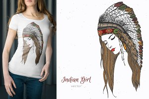 Hand drawn indian girl with feathers