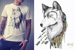 Hand drawn wolf with feathers