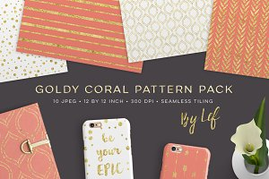 Gold and Coral Seamless Pattern Pack