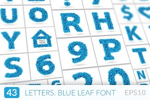 Blue frozen leaves font