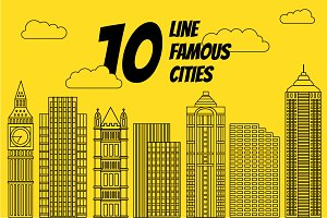 10 line vectors of the famous cities