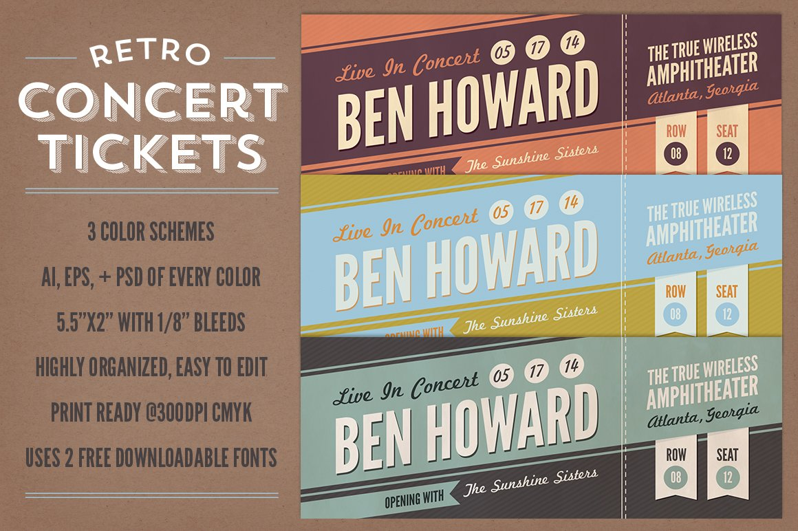 retro concert tickets stationery templates creative market. Black Bedroom Furniture Sets. Home Design Ideas