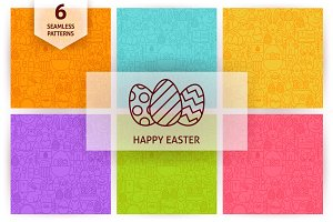 Happy Easter Line Seamless Patterns