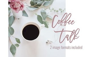 Coffee & Pink Peonies | Stock Images