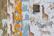 Animal watercolor seamless pack
