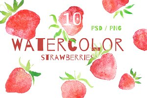 10 STRAWBERRY CLIP ART ELEMENTS