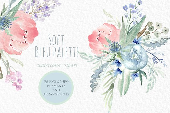 Soft Blue Peonies Watercolor Clipart Illustrations Creative Market