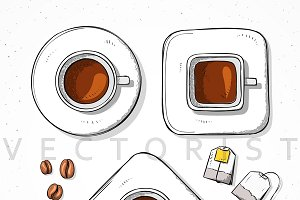 Isolated set cups, coffee bean, tea