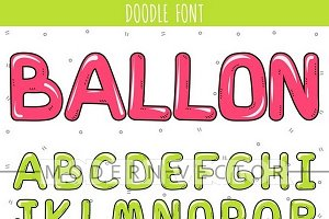 Font balloon. English alphabet
