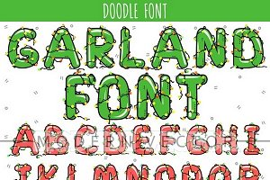 Font in garland. Christmas alphabet