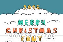 Christmas doodle set font in snow
