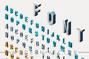 Isometric realistic glass font