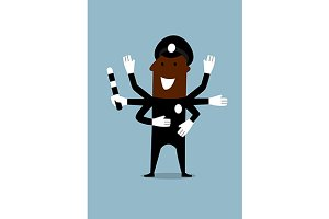 Black policeman with many hands