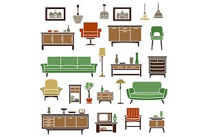 Home furniture and interior icons