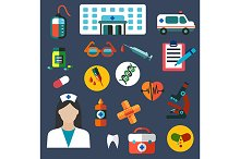 Hospital and medicine flat icons