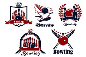 Bowling emblems with game items