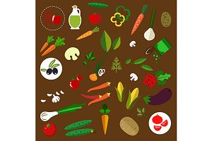 Fresh vegetables flat icons