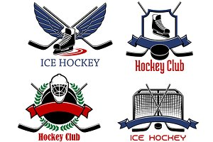 Ice hockey badges and icons