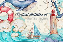 Watercolor nautical illustration set