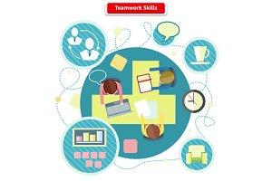 Teamwork Skills Concept Flat Design