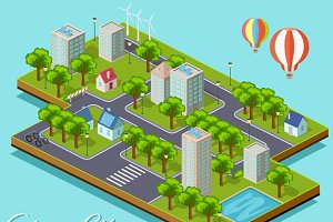 Isometric Isolated Green City