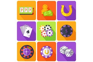 Icons Gambling Games Flat Style