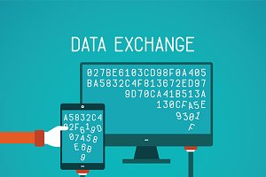 Data exchange background flat style