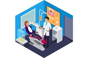 Isometric Dentist Office Patient