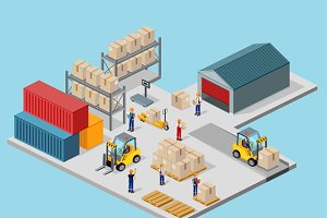 Isometric Process of the Warehouse