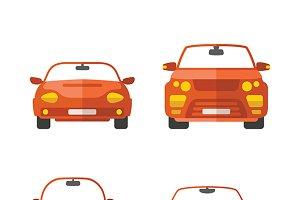 Passenger cars set flat style