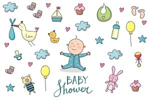 Baby Shower vector set