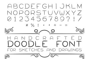 Doodle sketch font with numerals