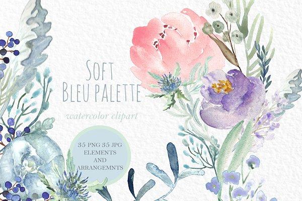 Soft Blue Peonies Watercolor clipar…
