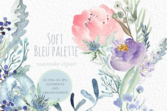 Soft Blue Peonies Watercolor clipart