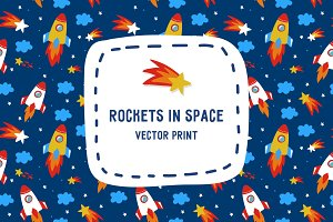 Rockets in space print