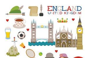 England tourism symbols flat style