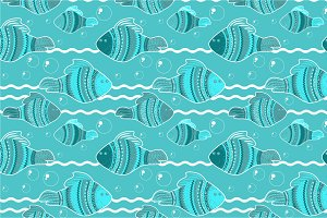"""Seamless pattern """"Fishes"""""""