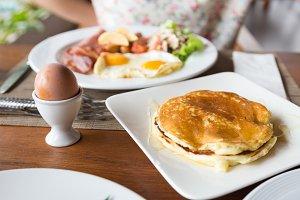 Pancakes, poached eggs