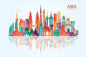 Asia skyline detailed silhouette