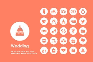 Wedding simple icons