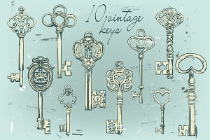 vintage graphic keys collection