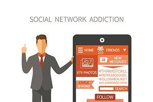 Social network app flat style