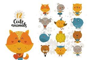 12 cute animals+patterns