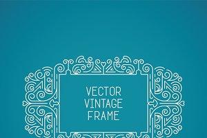 Vintage floral frame mono line