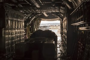 Inside the cargo plane