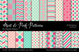 Mint And Pink Digital Papers